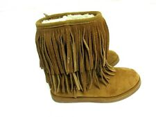 Justice Girls Youth Size 3 Fringe Booties Faux Fur Lined Brown