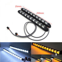 2PCS Car Flexible DRL White/Amber Switchback Flowing LED Light Strips 9 Modules