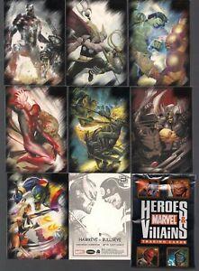 MARVEL HEROES & VILLAINS 2010 COMPLETE 81 CARD BASE SET + P1 PROMO & PACK WRAP