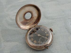 Original 1916 Silver Officers Demi Hunter wristwatch to restore working & winds