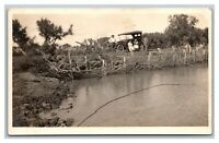 Early Car Automobile Family Farm Pond Fence RPPC Real Photo Postcard 1918-30