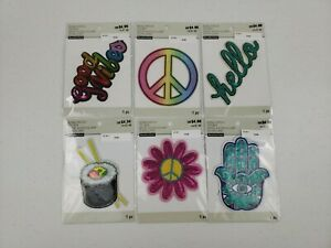 LOT OF 6 Bling Patches Stickers Good Vibes Peace Sign Hello Sushi Flower Eye