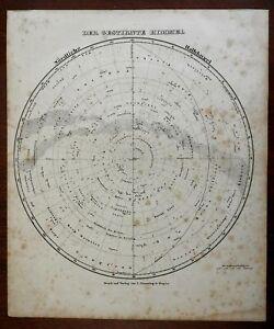 Northern Night Sky Star Map Constellations Zodiac North Star 1849 Flemming map