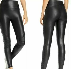 NWT SPANX BLACK FAUX LEATHER QUILTED LEGGINGS PANTS Black sz S or M Sexy  20248R