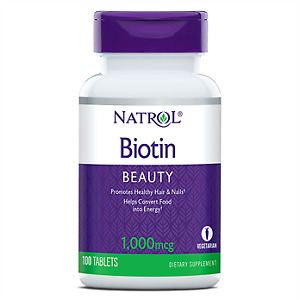 Natrol Biotin 1000mcg 100 Tablets - Promotes Healthy Hair and Nails