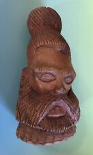 Carved Wood Head Figurine Topknot Man Bun Samurai ? Folk Art Carving