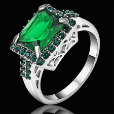 Vintage Princess Cut Green Emerald Wedding Ring Silver Rhodium Plated Size 6