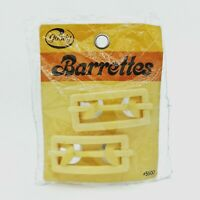 """Vtg GOODY Tan Barrettes(2) 2.5"""" w/Buckle Clasp #5500 Made in USA New/Sealed 1975"""