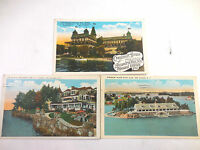 Lot 3 Vintage 1930's Postcards Thousand Islands Crossman House Yacht Club Ina