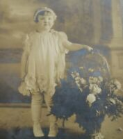 Antique Portrait Studio Photo Young Girl With Flowers Black and White B&W
