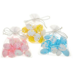 12 4cm Polka Dot Hanging Plastic Eggs for Easter Trees | Choice of Colours