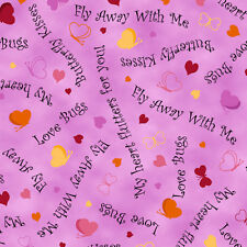 Quilting LOVE BUGS HEARTS & WORDS Pink 100% cotton fabric by the yard
