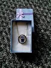 New blue Rhinestone Silver Plated Love Heart Round Charm Pendant Necklace