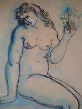 Superbe grande aquarelle signée Blondel années 40 femme nue au bouquet de fleurs