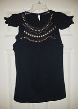 Dorothy Perkins Ladies Black Sequins Cap Sleeve Blouse Top Size 16 / 44