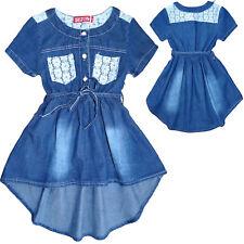 Kinder Mädchen Kleid  A-Linerock Hemdkleid Jeanskleid Skaterkleid Fest Party