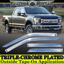 2017 2018 FORD F250 F350 F450 F550 4DR Crew Cab Chrome Door Window Visors Guards