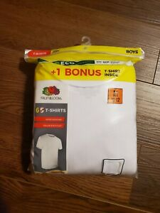 6-Pack Fruit of the Loom Tag-Free Boys T-Shirts White Medium 10-12 NEW