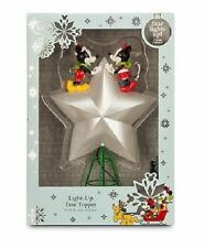 DISNEY 2015 MICKEY AND MINNIE MOUSE LIGHT UP TREE TOPPER-NEW