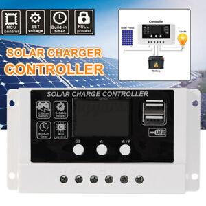 20A MPPT Solar Panel Regulator Battery Charger Controller Auto 12/24V LCD USB