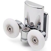 2 x Twin Bottom Shower Door Rollers/Runners 27mm Wheel dia (8mm glass) L067