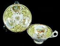 French Antique Old Paris Porcelain Cabinet Tea Cup and Saucer Scene Hand Painted