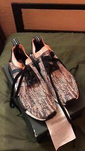 BNIB Women's Adidas NMD R1 SALMON PINK PRIMEKNIT  size 9 1/2 100% Authentic