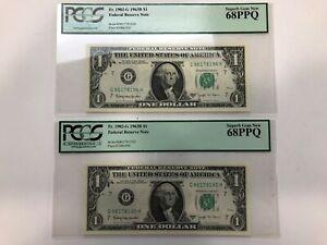 (2) 1963B $1 ONE DOLLAR FR.1902-G PCGS SUPERB GEM NEW 68 PPQ