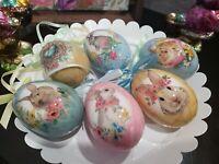 (6) Primitive Vintage Style Hanging Easter Eggs Egg Ornaments Tree Decor #101