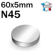 SUPER AIMANT MAGNET NEODYM DISQUE N45 - 60x5mm - 100Kg