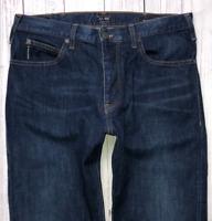 Mens ARMANI J21 Jeans W32 L30 Blue Straight Stretch Fit