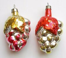 2 Vintage Russian Silver Glass USSR Christmas Xmas Ornaments Decorations Grapes