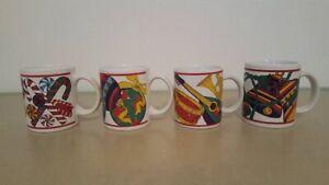 lot of 4 Holiday Splendor Riviera Van Beers Signature Housewares Christmas mugs