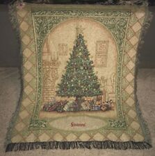 "Christmas Scene Tapestry Woven Blanket Embroidered with Name ""Granni"" 47"" x 57"""