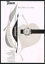 1950's Vintage 1957 Timor Watch Co Mid Century Modern Modernist Art Print AD