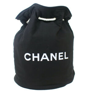 CHANEL Logos Drawstring Shoulder Bag Purse Black Cotton M14407i