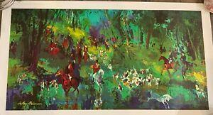 "Rare 1967 Leroy Neiman ""The Hunt For the Unicorn"" Print on Canvas (25 1/2""x14"")"