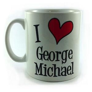 NEW I LOVE HEART GEORGE MICHAEL GIFT CUP MUG PRESENT SINGER WHAM MUSIC FAN