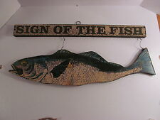 George Nathan Large wooden Sign of the Fish Sign Vintage Style Fishing Cabin