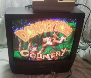 "Toshiba 19"" VCR Combo Crt Color Television MV19K1 Retro Gaming Vintage Tube Test"