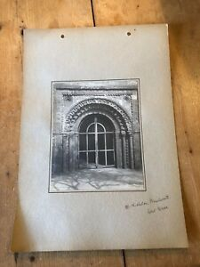 ANTIQUE/VINTAGE PHOTO OF WEST DOOR AT ST NICHOLAS, KENILWORTH (ENGLAND) A4-SIZED