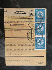 1942 Germany Buchenwald Concentration Camp Commandant Parcel Cover Kripo Prague