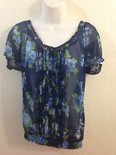 Women's Abercrombie & Fitch Top Shirt Blouse with Ruffles Size M