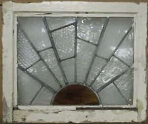 """OLD ENGLISH LEADED STAINED GLASS WINDOW Sun-Ray w Lots of Texture 20.25"""" x 17"""""""