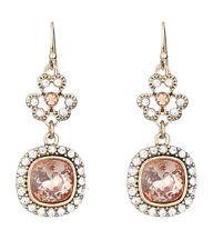 Drop Dangle Pierced Wire Earrings Filigree And Crystal Peach / Clear