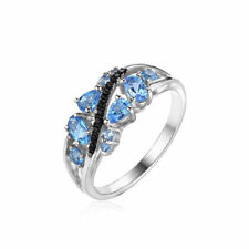 1.2ct Bright Natural Swiss Topaz Black Spinel Solid Sterling Silver Ring Size 6