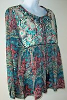 RAGA Free People Mystic Waves Top/Blouse S Embroidery Tassel Tie Hippie Boho