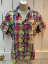 Cotton Traders Pink Yellow Checked Waffle Shirt Blouse 20 or Oversized
