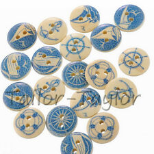 50pcs 2 Holes Wooden Buttons Blue Nautical Round Design Sew DIY Craft Decoration