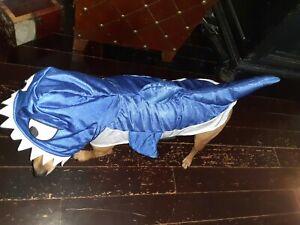 "Dog Shark Halloween Costume Size Lrg~ Shiny Blue Hoodie Style ~24"" long 16"" Neck"